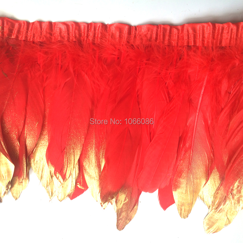 8yard/lot gold paint spray goose feather fringes 15-20cm red with gold tips goose feather trims 2y/pc