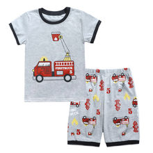 Baby Outfits Peuter Baby Jongens Cartoon Auto Gedrukt Brief Tops T-Shirt + Shorts Outfits Set Jongen Zomer Leuke cartoon Kleding Set(China)