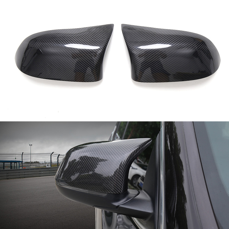 2x Genuine Carbon Fiber Rearview Mirror Replace Cover Case For BMW X3 F25 15 17 & X4 F26 15 17 & X5 F15 14 17 & X6 F16 15 17 car