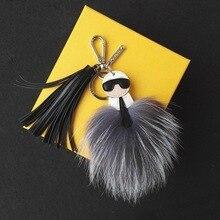 Free Shipping Karlito Fur Monster Keychain Real Fox Fur Keychain Fur Bag Charm Keychain with Tassel Pendant Fox Fur Monster