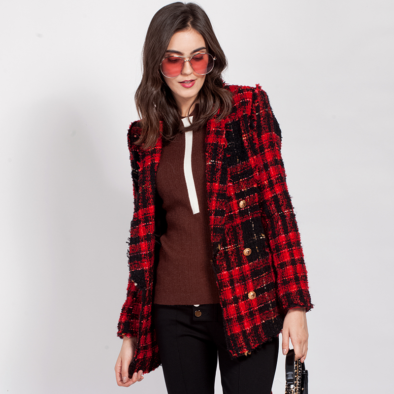 HIGH QUALITY New Fashion 2018 Runway Designer Wool Jacket Women's Lion Buttons Double Breasted Plaid Lacing Belt Tweed Wool Coat