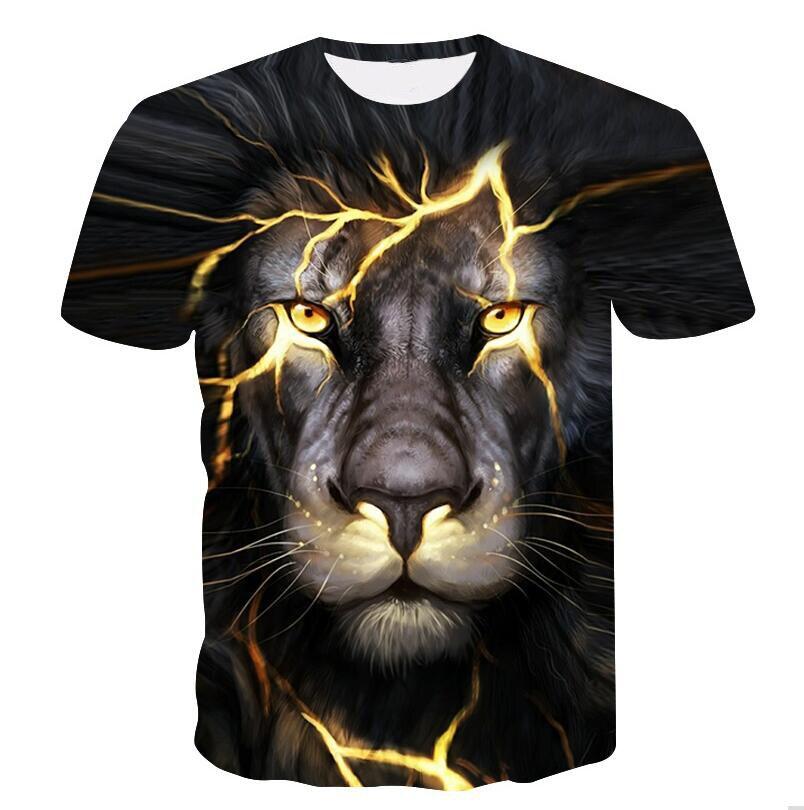 BZPOVB Newest 3D Print Lightning lion Cool T-shirt Men/Women Short Sleeve Summer Tops Tees T shirt Fashion