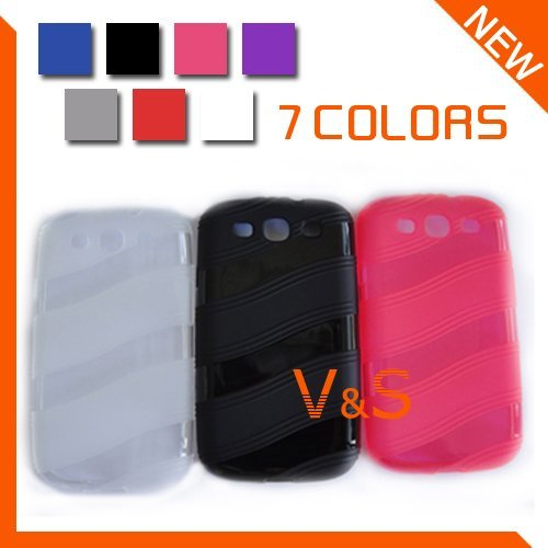 New Arrival Soft Abrasion Wave Line TPU case for Samsung Galaxy SIII S3 I9300 10pcs/lot Free shipping
