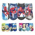 4prs/lot boy spiderman big hero niños calcetines calcetín de algodón unisex bebé de los cabritos carácter chica elsa anna secuaces de dibujos animados calcetines