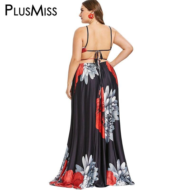 PlusMiss Plus Size XXL Halter Sexy Backless Floor Length Dress Women Floral Flower Print Maxi Long Party Dresses 5XL XXXXL XXXL