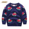 Floral Niñas Bebés Y Niños de Punto Suéter Del O-cuello 2016 Otoño/Invierno Ropa Niños de la Manera de Europa Y de Estilo Americano