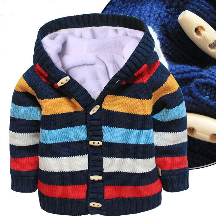 new 2015 autumn Winter baby clothing boys and girls cotton striped sweaters kids plus velvet hooded cardigan coat