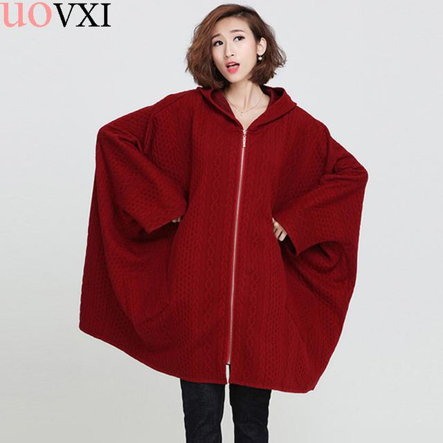 UoVIX Plus Size Jaqueta Casaco Sólida Básica De Algodão Mulheres Moda Batwing Manga Solta Nova Outono Casual Zipper Cardigan Outerwear