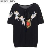 Designer Tshirt Women Knitted Top Summer Black Mesh T Shirt Short Sleeve Harajuku Tops Fashion Camisetas