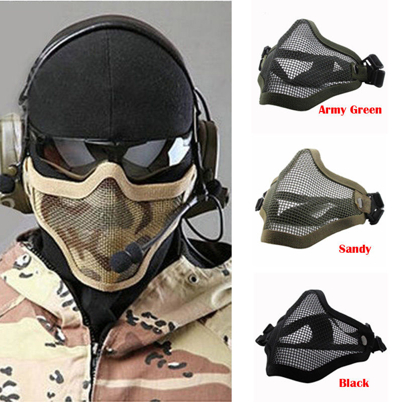 1 Piece Steel Wire Mesh Tactical Skull Half Face Mask For Nerf N-Strike CS Riding Protector For Outdoor Toys Gun Game