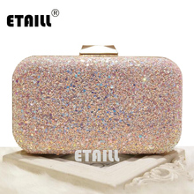 ETAILL 4 Colors Simple Dazzling Glitter Spangle Sequin Clutch Bags One Shoulder Cross Body Chian Luxury Brand Bag Bolsa Feminina