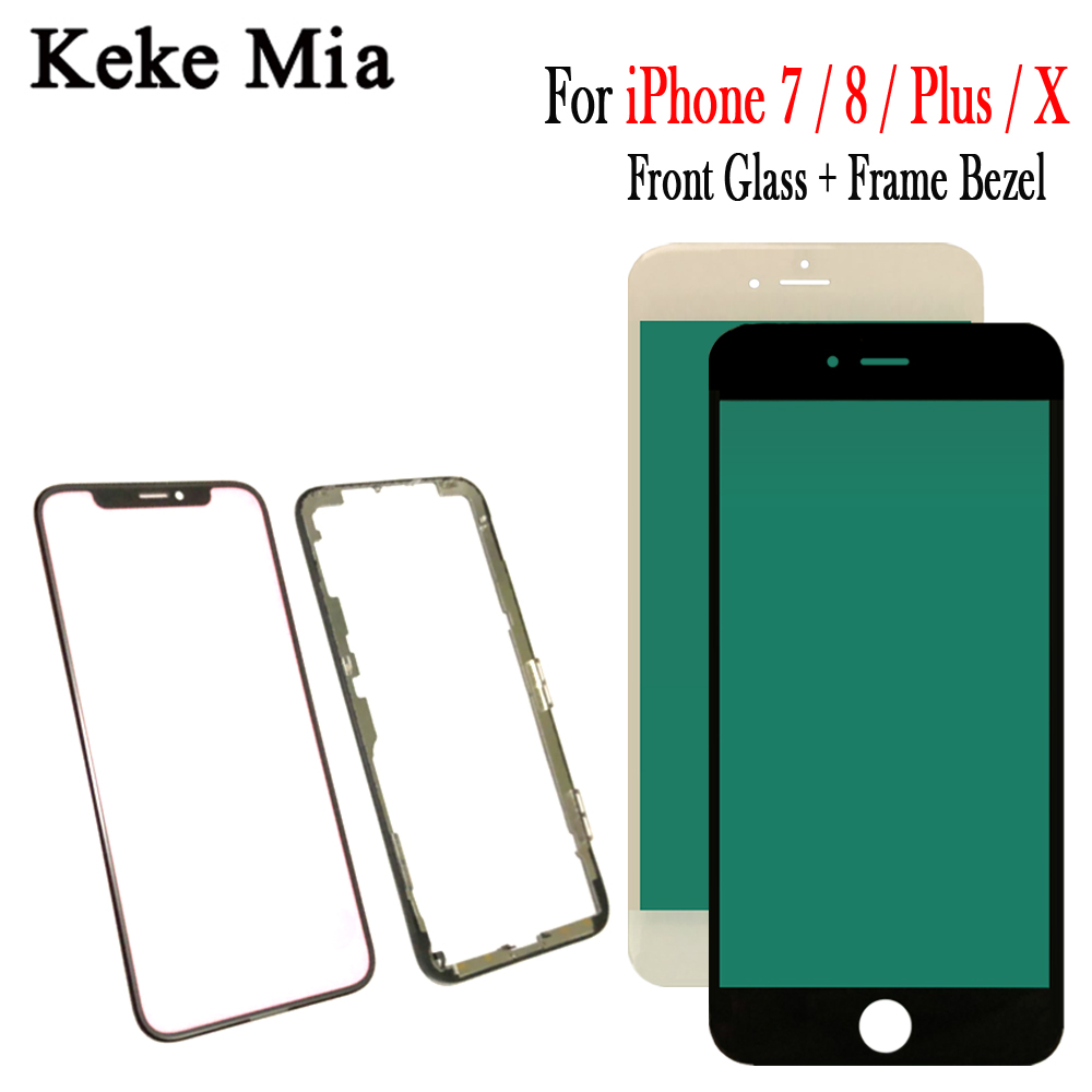 100% New Original Touch Panel Replacement For <font><b>iPhone</b></font> 7 8 Plus <font><b>X</b></font> Front Outer Screen <font><b>Glass</b></font> Lens With Frame Bezel <font><b>Repair</b></font> parts image