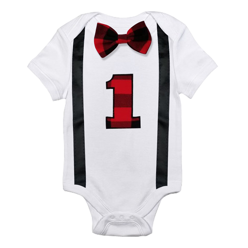 Infant Baby Boys Short Sleeves Number 1 First Birthday Romper Newborn Baby Outwear Summer Rompers 12M Gifts Baby Clothing
