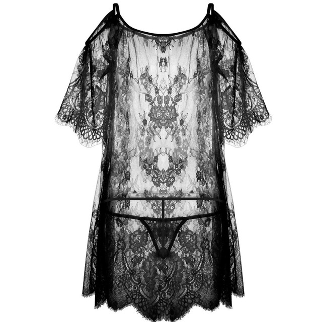 Yhotmeng2019 new mesh transparent sexy sling five-point sleeves flowers sexy lace pajamas nightdress set black and white 2