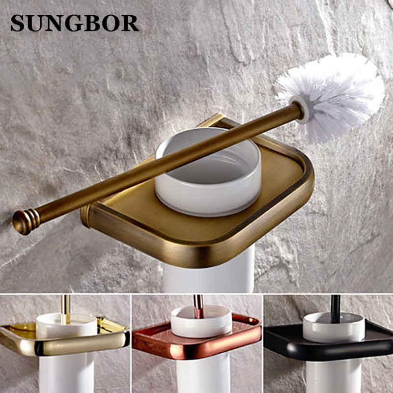 4-style Toilet Brush Holder Solid Brass Construction Base Ceramic Cup Antique Brass/golden/rose golden/oil rubbed bronze HY-2209 toilet paper holder hanger brass marble wall mount set furniture silver gold antique brass rose golden 4 color gjke5005