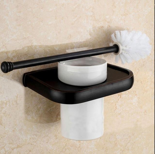 Oil Rubbed Bronze Toilet Brush Holder Set Bathroom European Bowl Black Copper
