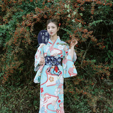 2019 kimono mujer yukata mujeres haori Japón geisha traje obi kimono  japonés tradicional cosplay vestido de V1354 cb88f63836bd