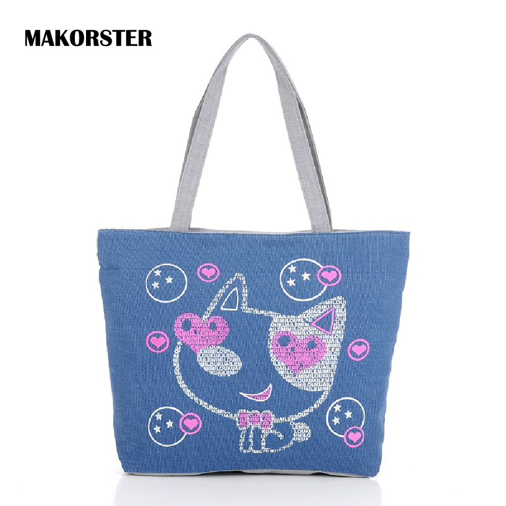MAKORSTER Shoulder Bags Canvas Bags Female Tote Cat Luxury Handbags Handbag bags for women 2017 brands Designer Bag SMT085CS aosbos fashion portable insulated canvas lunch bag thermal food picnic lunch bags for women kids men cooler lunch box bag tote