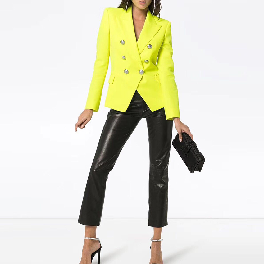 HIGH STREET New Fashion 2019 Classic Designer Blazer Jacket Women's Lion Metal Buttons Double Breasted Yellow Blazer Outer