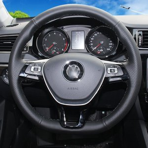 Image 3 - Shining wheat Hand stitched Black Leather Steering Wheel Cover for Volkswagen VW Golf 7 Mk7 New Polo Jetta Passat B8