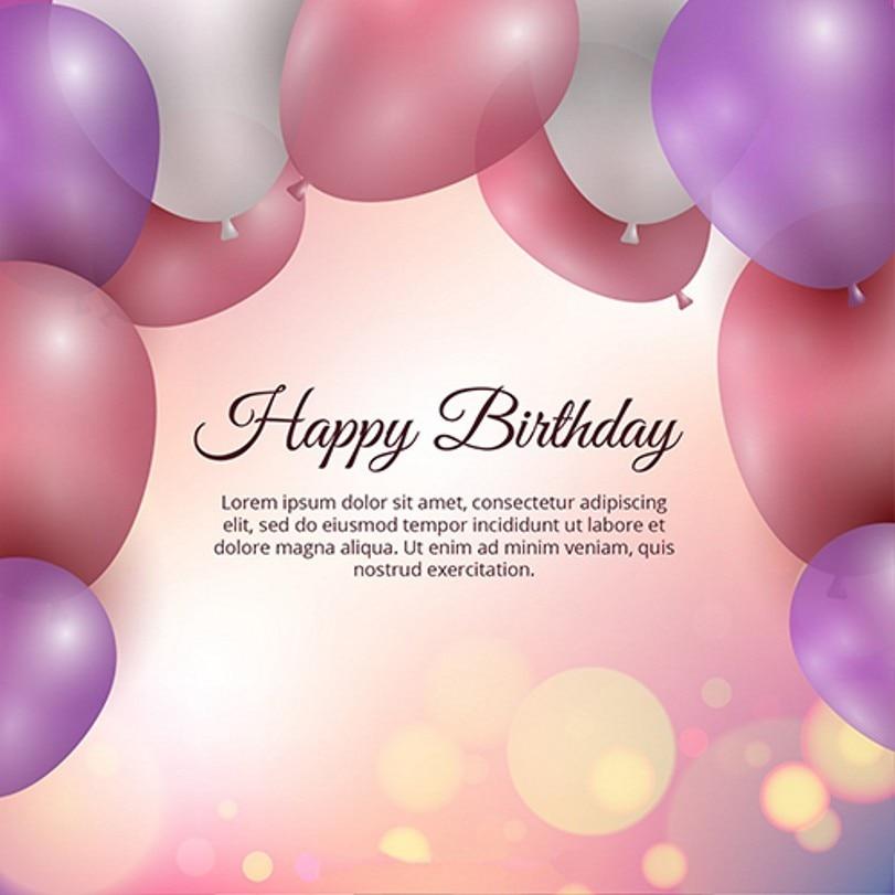 Happy Birthday Sequins Pink Purple Balloon Backdrops Vinyl