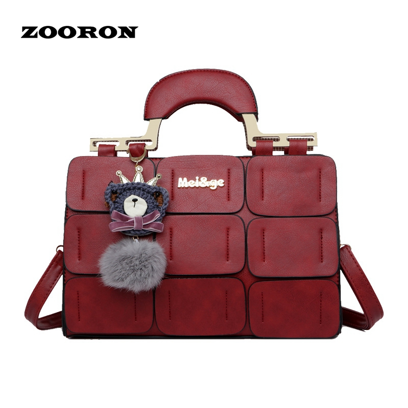 ZOORON new spring/summer 2017 women bag suture Boston bag inclined shoulder bag
