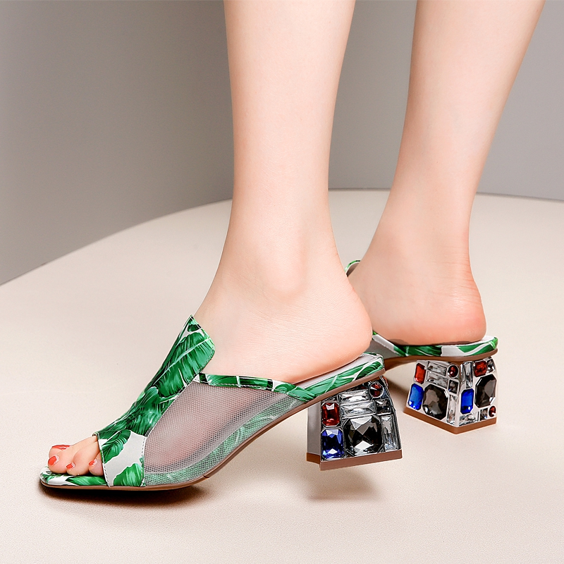 Grande taille 42 femmes grande sans lacet en cuir verni sandales à talons hauts bout ouvert été talon épais femme confort robe escarpins chaussures