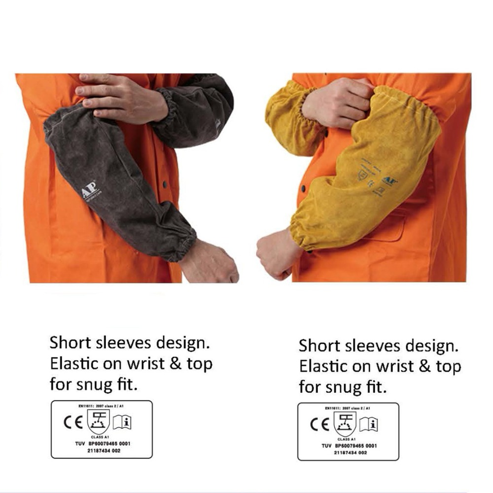 Welding Sleeves Split Cowhide Leather Sleeves 40cm 16 Flame/Abrasion/Heat Resistant CE Approved Welder Arm Protective Sleeves image