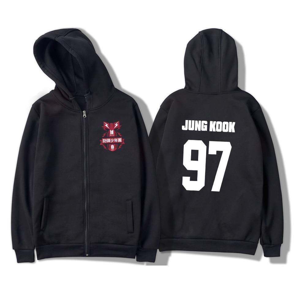 2018 BTS Hoodies Sweatshirts New Design Spring Kpop Zipper Women/Men Hoodies Unisex Casual Fashion Zipper Clothes