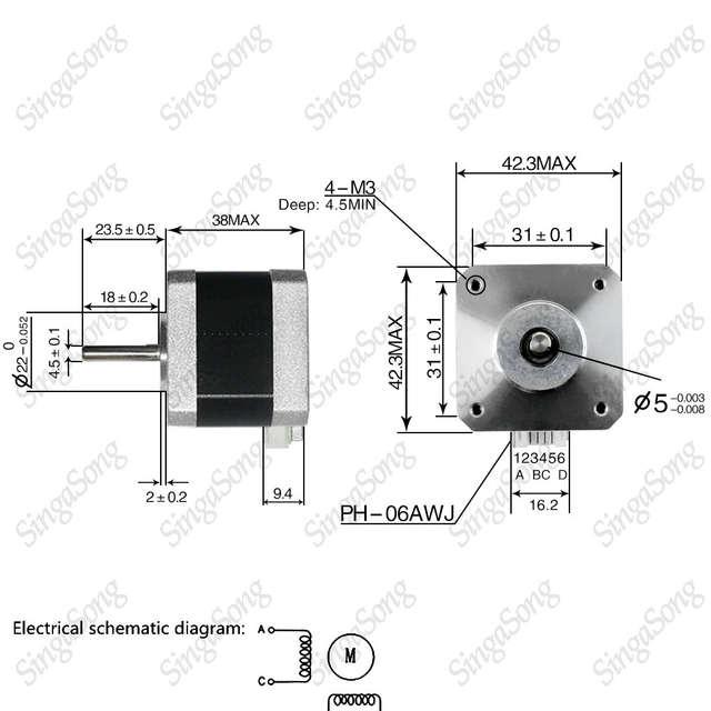 3d printer motor 4 lead Nema17 Stepper Motor 42 motor Nema 17 motor on