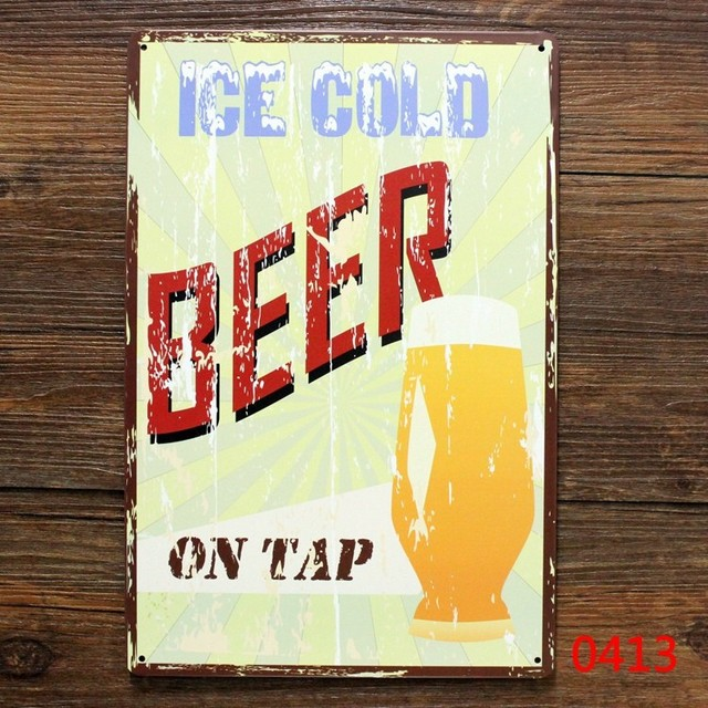 Ice cold beer on tap. vintage tin signs retro metal sign wall ...