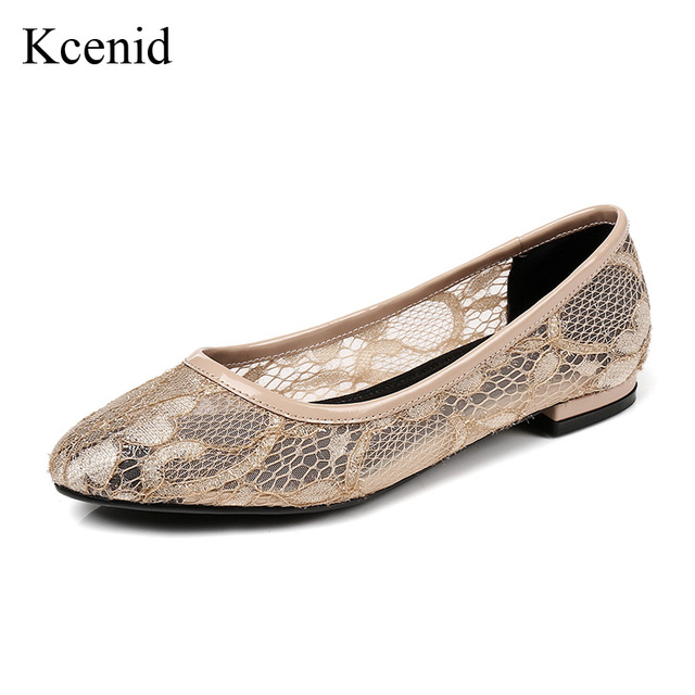 Kcenid 2018 New fashion women luxury lace flat shoes round toe slip on ballet  flats ladies