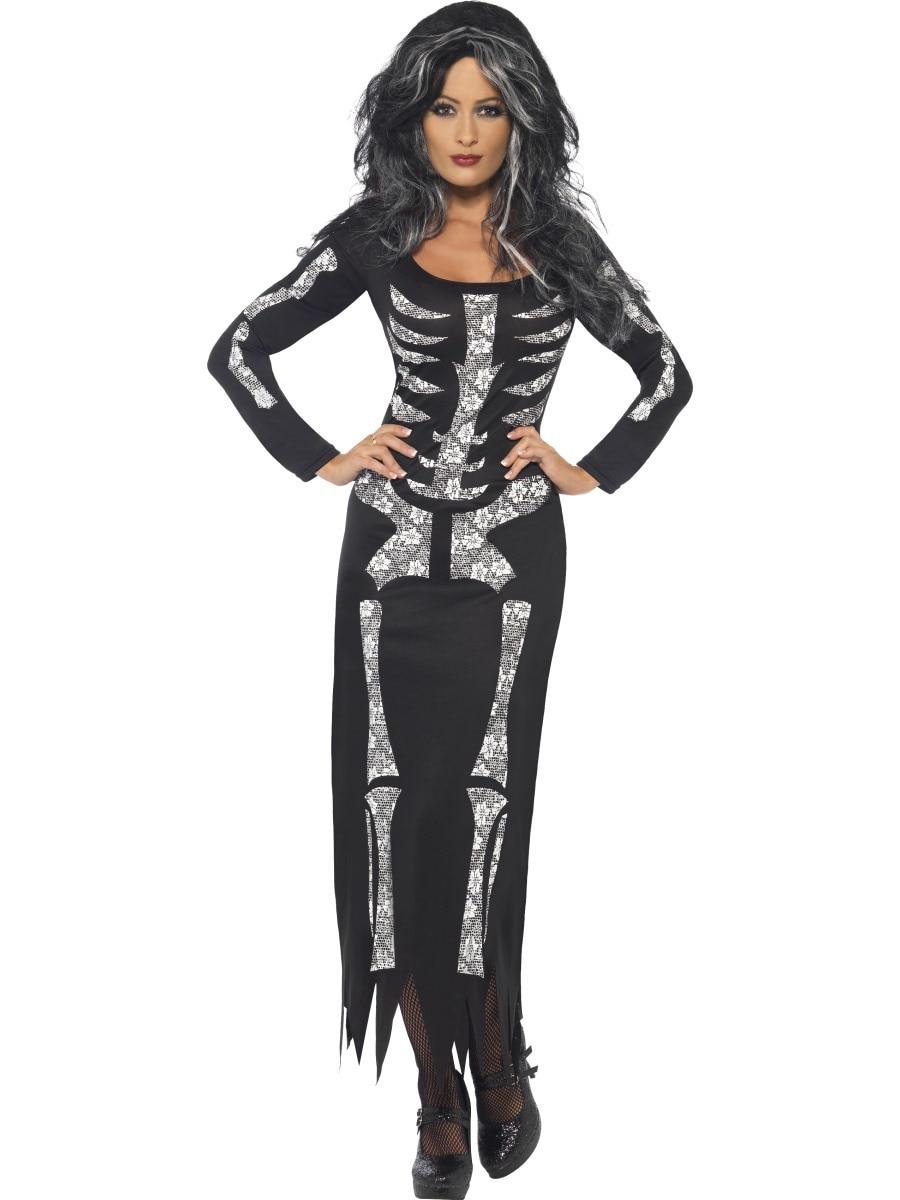 m xl new women ladies halloween bones bodycon skeleton skull punk party long dress - Halloween Punk Costume