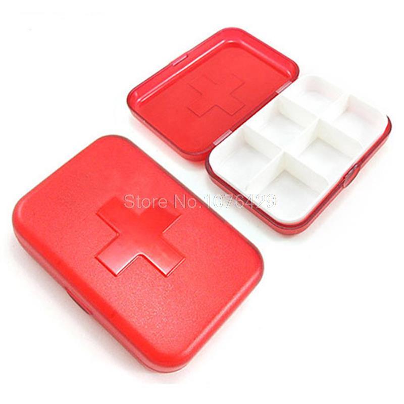 6 слотов крест Портативный лекарство Пластик Pill Box украшений Организатор Контейнеры Для Хранения