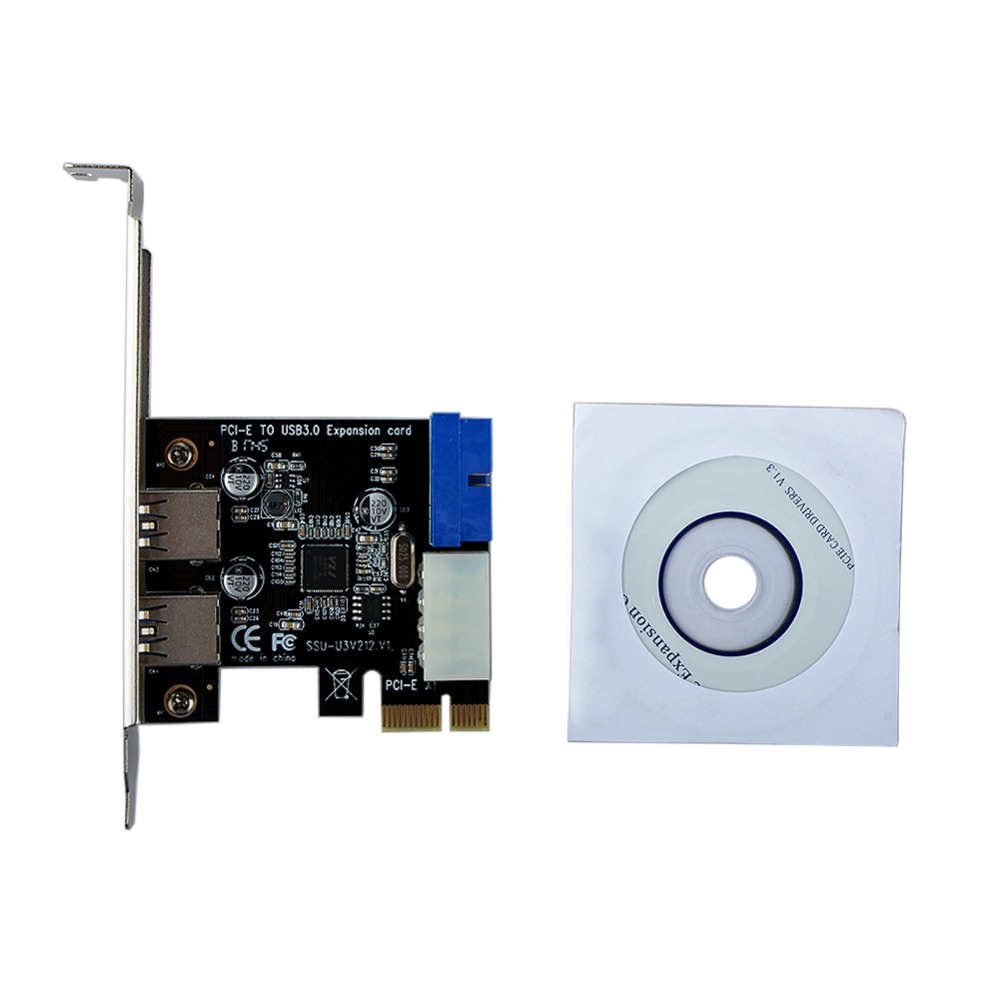 USB 3.0 PCI-E Expansion Card Adapter External 2 Port USB3.0 Hub Internal 19pin Header PCI-E Card 4pin IDE Power Connector