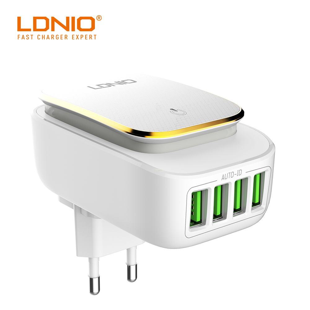 LDNIO A4405 4.4A White With Gold Rim US Foldable Wall Charger With UK//EU Extra Plug For Optional Charging Mobile PhoneLDNIO A4405 4.4A White With Gold Rim US Foldable Wall Charger With UK//EU Extra Plug For Optional Charging Mobile Phone