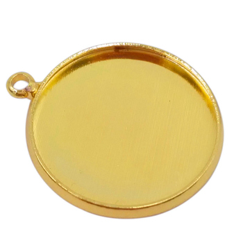 Gold Plated 1000piece 10mm 12mm 14mm 16mm 18mm 20mm 25mm Round Bezel Cabochon Setting Charm Pendant Blanks Pendant Trays PT16