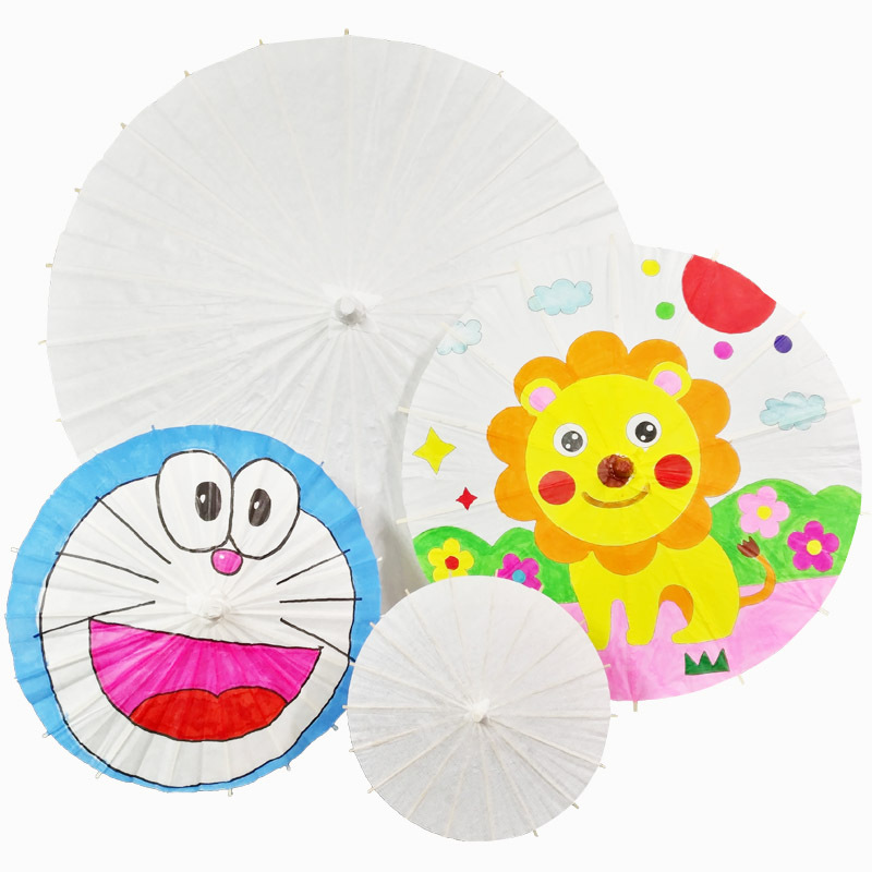 Children DIY  Blank Oil-paper Umbrella Craft Toy Umbrella White Kindergarten Art Painting Umbrella Hand-painted Handmade