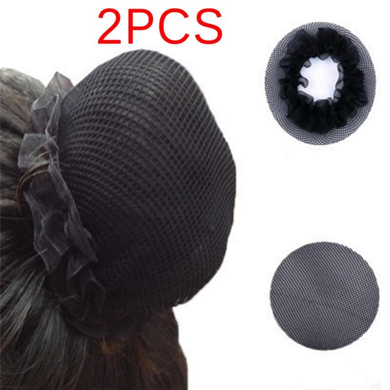 2Pcs  10 Cm Women Ballet Dance Skating Snoods Hair Net Bun Cover Black High Quality