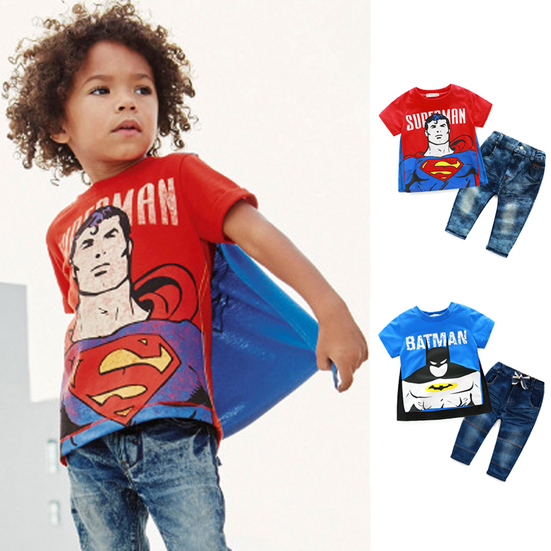b4cc8a7b30803 Acheter Vêtements d été Pour Les Garçons Batman Superman t shirt Et Jeans  de bande dessinée Enfant Garçon Shorts Ensembles Streetwear Enfants Tenues  Garçons ...