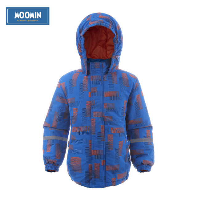 Moomin 2016 New Arrival Oxford winter jacket boys Geometric boy outwear blue winter Zipper coat waterproof winter jacket kids