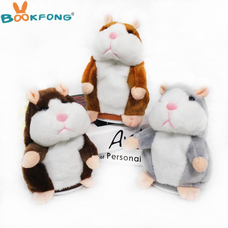 Falando Hamster Brinquedos De Pelúcia Gravação de Som Hamster De Pelúcia Kawaii Brinquedos de Pelúcia para As Crianças Presente de Aniversário para Crianças 16 cm