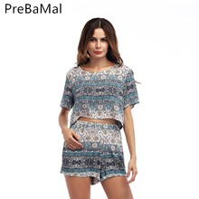 2019 Fashion Suit For Women Summer 2 Piece Clothing Set Casual O-Neck T-Shirt and Wide Leg Elastic Waist Shorts Women Sets C98 [eam] 2018 new summer fashion tide black o neck short sleeve loose striped t shirt and elastic waist wide leg pants set sa055