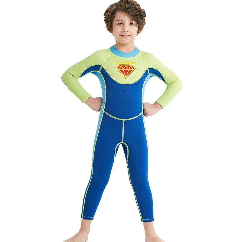 2,5 мм Neoprenen девушки гидрокостюм, дети Одна деталь всего тела мокрый костюмы для пла ...