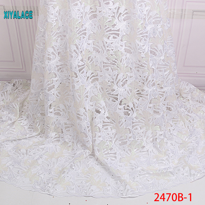 African Lace Fabric High Quality Lace Nigerian Voile Lace Fabric New Design Swiss Voile Lace Switzerland Add Stones YA2470B-1