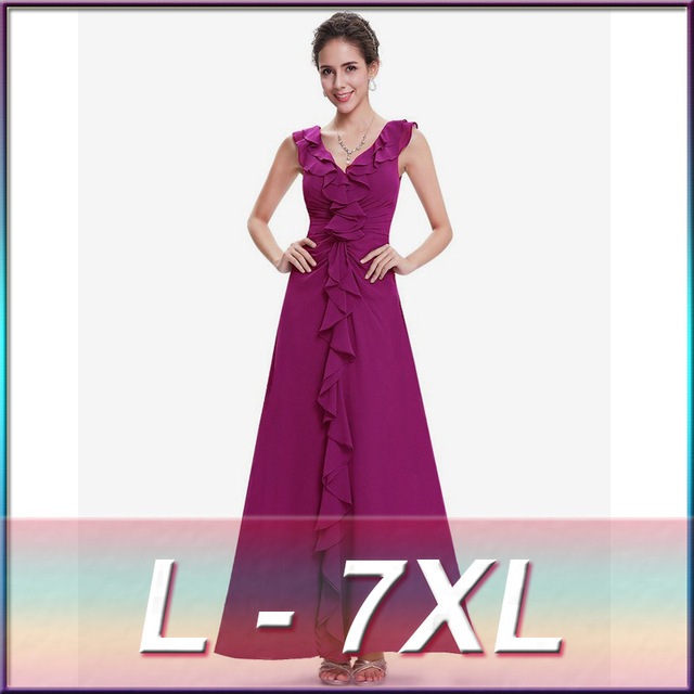Plus Size Women Dress Ball Gown V Neck Dress Sexy Cascading Ruffle