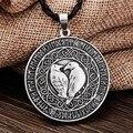 1pcs Norse Vikings Pendant Necklace Valknut Raven RUNE PENDANT Knot Viking Amulet Pendant Necklace Nordic Talisman