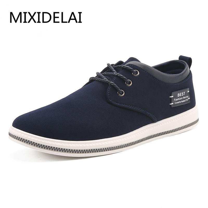 все цены на Brand Shoes Men Large Sizes 39-47 Mens Shoes Casual Lace Up Fashion flats Sneakers Men Black Men Shoes Leather Footwear онлайн