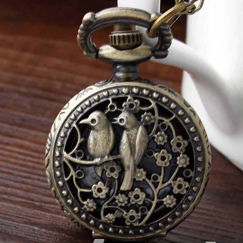 Vintage Bronze Cute Love Bird Flower Hollow Quartz Pocket Watch Women Men Chain Clock Pendant Necklace Ladies' Gift