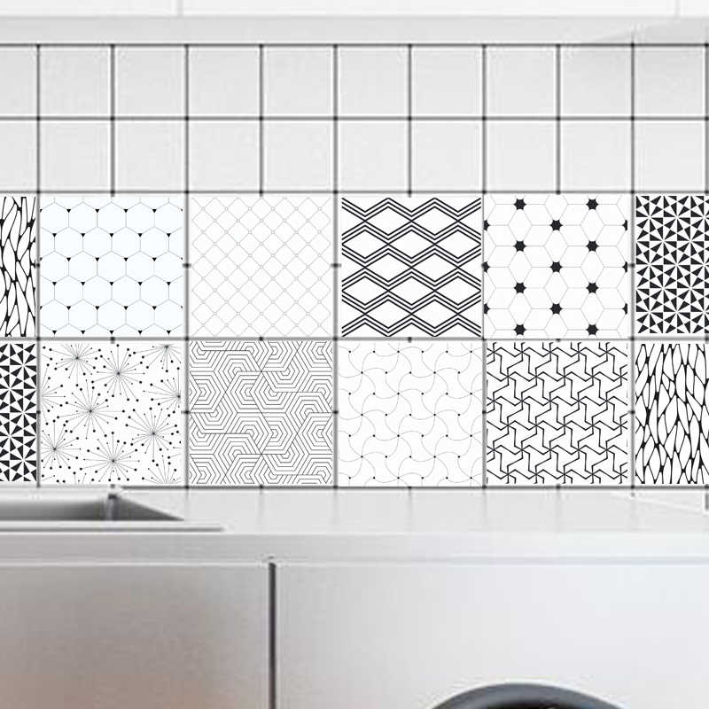 Tile Stickers Retro Black White geometry Wall Stickers Bathroom Kitchen Pvc Plat Walpaper Wall Decal 100x20cm
